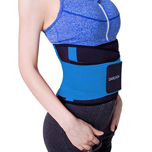 23f8c7c5f7b DARCHEN Waist Cincher Trimmer with Dual Adjustable Straps for Men and Women  Wide Back Lumbar Brace Support Belt Elastic Waist Bands for Lower Back Pain  ...
