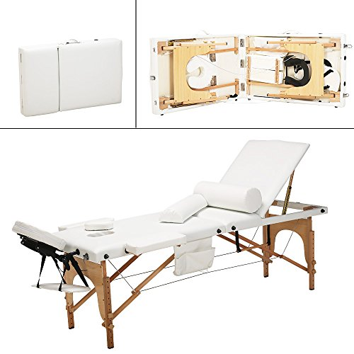 """85""""L All-Inclusive 3 Fold Portable Massage Table – Facial SPA Bed Portable Salon Equipment, with Free 2 Bolsters/Cradle/Hanger/Carry Case (White)"""