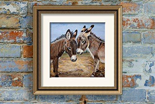 Miniature Donkeys Farm Animal Art Print Giclee for your Western Farmhouse Decor, size mat options