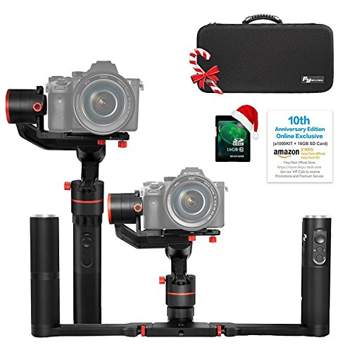45 Designs (FeiyuTech a1000 Dual Handheld Gimbal Kit,Compatible with NIKON/SONY/CANON Series DSLR Camera/GoPro Camera/Smartphone, 45 Degree Elevation Design, 1KG Payload, Detachable Handle, Auto-Adjust Balance)