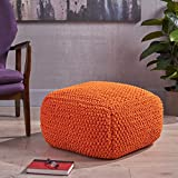 Lucy Knitted Cotton Square Pouf, Orange