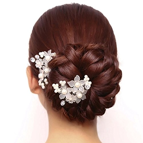 - Bob romantic handmade flower clusters hairpin white matte red flower petals pearl bridal accessories girl child for women girl lady