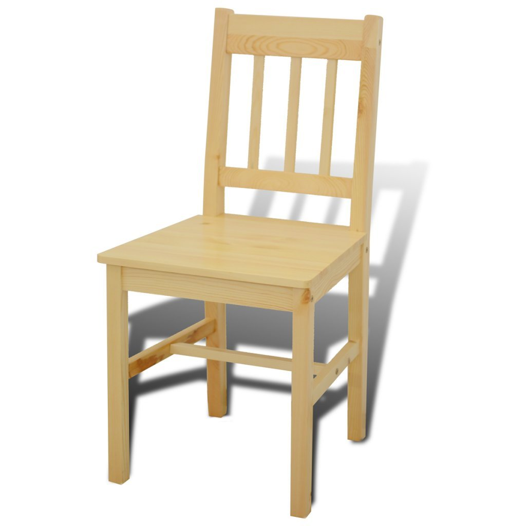 Anself Wooden Dining Table with 4 Chairs, Natural: Amazon.co.uk ...