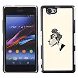 All Phone Most Case / Hard PC Metal piece Shell Slim Cover Protective Case for Sony Xperia Z1 Compact D5503 Man Portrait Pencil Art Glasses Profile