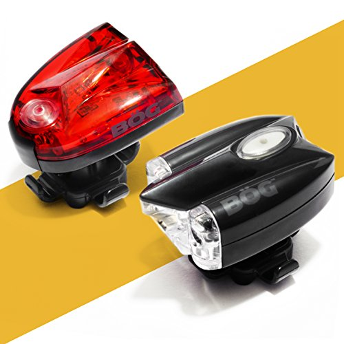 BoG Products USB Rechargeable LED Bike Light Set Headlight taillight Combo for Bicycle or Scooter Free high Visibility reflectors Safety kit