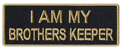 - Motorcycle Biker Jacket/Vest Embroidered Patch - I Am My Brother's Keeper (Black/Gold Design)