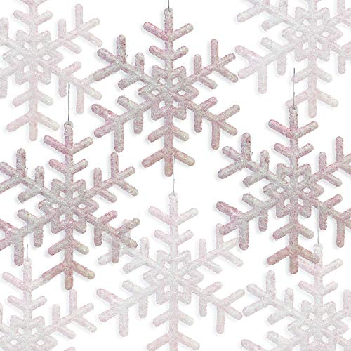 BANBERRY DESIGNS Pink Snowflakes - Set of 24 Snowflake Ornaments – Approx. 5 Inch Frosted Look Pink Fuzzy Snowflakes - Winter Baby Shower ()