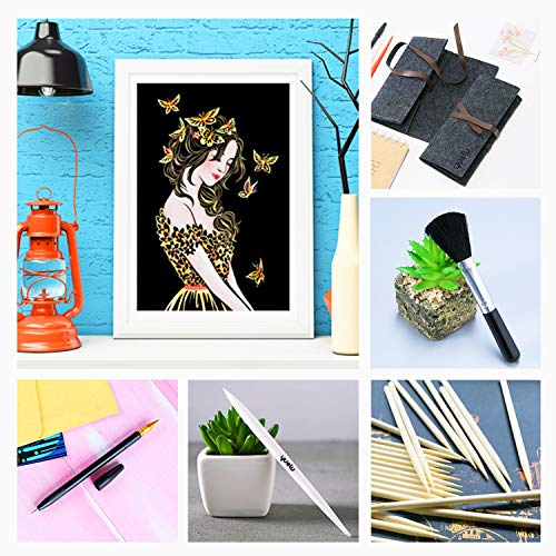Scratch Paper Rainbow Scratch Art Paper Scratch Arts and Crafts for Adults and Kids DIY Art Craft Night View Painting Kits with 8 Sheets Scratch Cards & Scratch Drawing Pen (Girl&Street Corner)