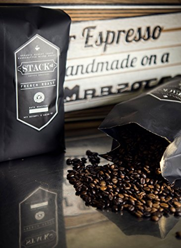 Stack Street Coffee French Roast, Direct Trade Micro-Roast and Rainforest Alliance Certified Organic Whole Bean Coffee, 2 lb Bag