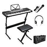 Vangoa - 61 Keys MK-2108 Electronic Lighting LCD Display Keyboard Piano with Music Stand Screen with Stand, Bench, Microphone, Headphone, Keyboard Bag