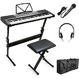 Vangoa MK-2108 61 Keys Electronic Lighting LCD Display Keyboard Piano with Music Stand, Bench, Microphone, Headphone, Keyboard Bag