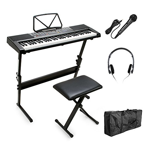 Vangoa - 61 Keys MK-2108 Electronic Lighting LCD Display Keyboard Piano with Music Stand Screen with Stand, Bench, Microphone, Headphone, Keyboard Bag by MEIKE