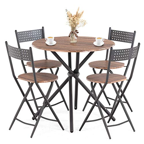 Mecor 5 Pcs Dining Table Set w/ 4 Folding Chairs, Mid-Century Vintage Round Coffee Table and Foldable Chairs with Wood Top and Metal Frame for Kitchen Patio Dining Room (Brown)