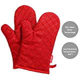 Aicok Oven Mitts Kitchen Gloves Heat Resistant Non-Slip Silicone Cooking Potholder for Barbecue, Baking, Red, 1 Pair