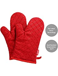 Aicok Oven Gloves Non Slip Kitchen Oven Mitts Heat Resistant Cooking Gloves For Cooking Baking Barbecue Potholder Red 1 Pair
