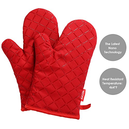 Aicok Oven Mitts, Heat Resistant Oven Gloves, Non-Slip Cooking Gloves, for BBQ, Baking, Barbecue Potholder, Red