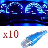 Ancdream 10Pcs 12v 1.2w T5 5mm Super Bright Blue LED Wedge Car Dashboard Speedo Bulb 286
