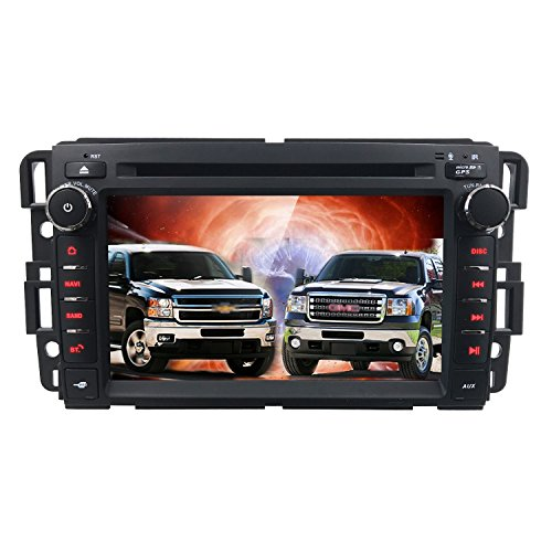 Car Stereo DVD Player for GMC Chevy Silverado 1500 2012 GMC Sierra 2011 2010 7 inch Quad Core Double Din in Dash Touchscreen FM/AM Radio Receiver Navigation Bluetooth