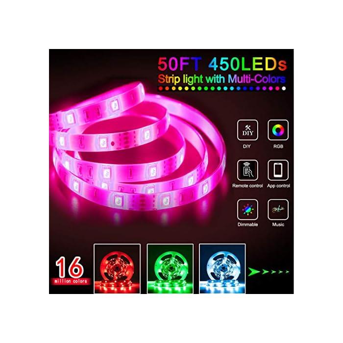 51EuXkYKeEL Tira de luces LED SMD5050 que cambian de color de 15 m con sincronización de música que cambia de color + controlador Bluetooth + luces LED remotas para recámara, fiesta y decoración del hogar controlada por APP