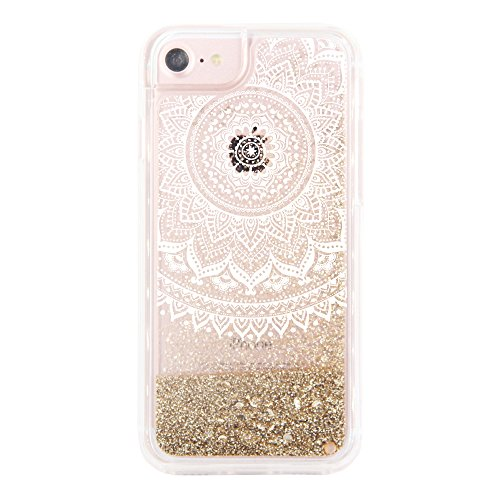 """uCOLOR Case for iPhone 7 Plus/8 Plus iPhone 6S Plus/6 Plus (5.5"""") Case Gold Glitter Mandala Floral Glossy Damask Waterfall Clear Protective Case for iPhone 7 Plus/8 Plus"""