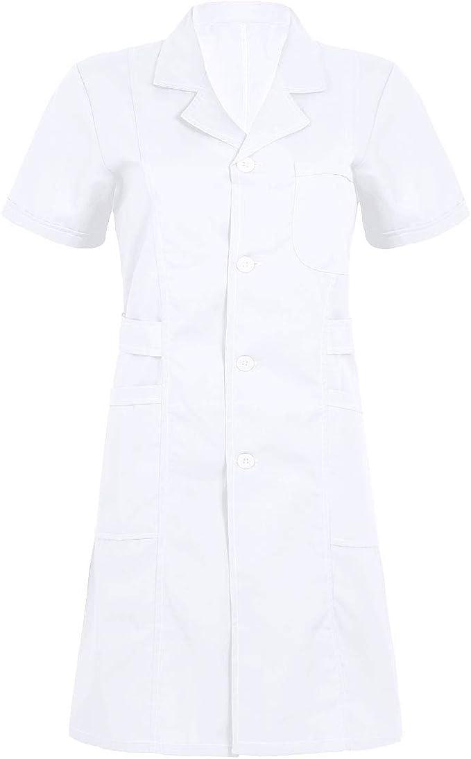 iixpin Cosplay Uniforme de Enfermera Médico Mujer Bata Sanitario Adecuado para Laboratorio Dentista Doctor Vestido de Algodón Disfraz Costume: Amazon.es: Ropa y accesorios