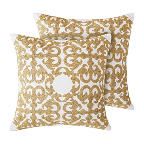 Deconovo Square Cotton Canvas Cushion Cover Hook Pattern Embroidered Pillow Covers for Office Chairs Light Yellow and White 18x18 Inch Set of 2 No Pillow Insert