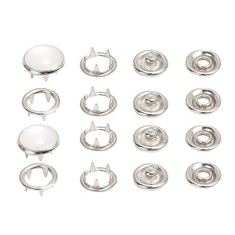 Yardwe 100pcs Botones de aro de Metal Ojales Kit de Sujetadores a presión Pernos prisioneros Botones