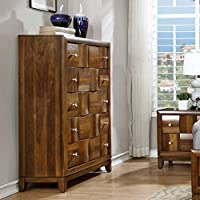 Roundhill Furniture Calais Solid Wood Construction Chest, King, Walnut