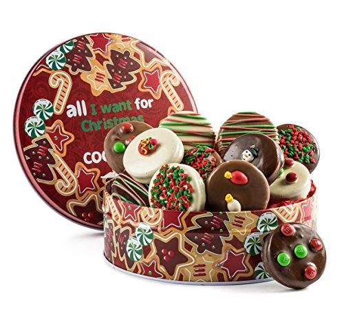 12 Piece Belgian Chocolate Covered Oreos Tin Gift with Winter And Christmas Designs. Rich Touch for Holiday Table.