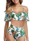W YOU DI AN Women High Waisted Bikini Flounce Top Bathing Suits Swimsuit