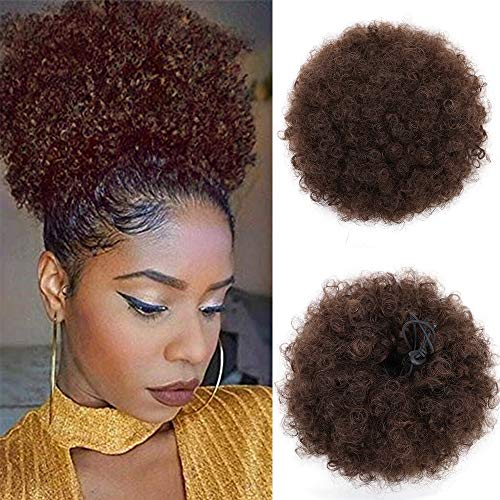 AISI QUEENS Afro Puff Drawstring Ponytail Human Hair Kinky Curly Ponytail Bun for African American High Puff Hair Extensions Dark Brown color with 2 - Drawstring Human Hair