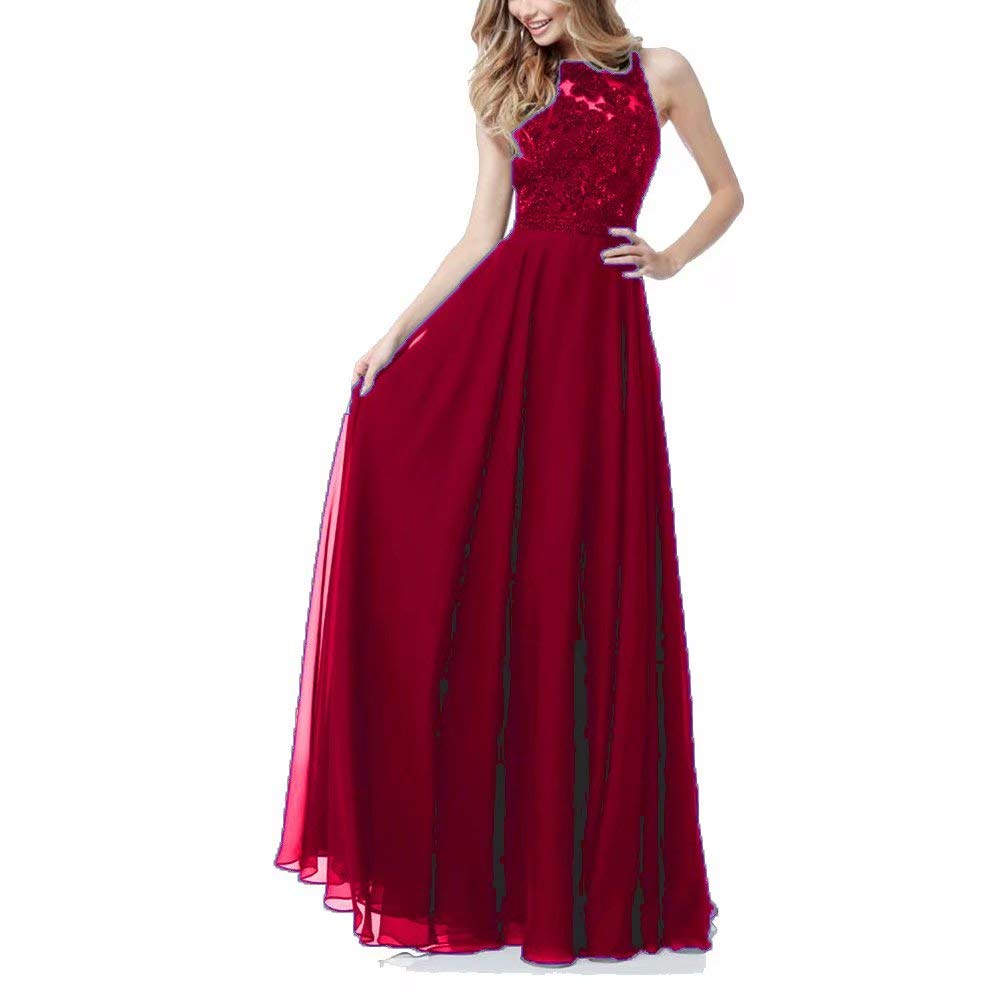 Dark Red Women Sleeveless Lace Prom Dresses A Line Long Beaded Formal Evening Gowns