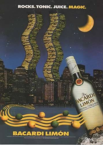 (Magazine Print Ad: 1998 Bacardi Limon Citrus Rum, Wold Trade Center NYC Night Scene,