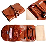 Leather Tobacco Smoking Pipe Pouch Bag Organize Case Pipe Tool lighter Holder Pocket for 2 pipe (Litchi Brown)
