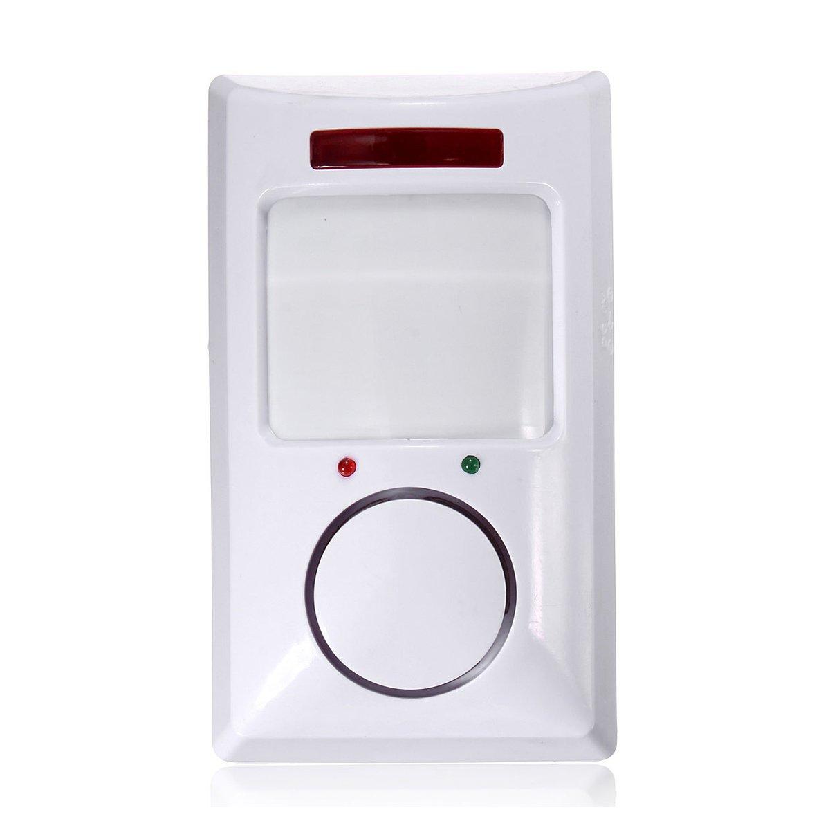 SODIAL R detector de sensor de movimiento de IR inalambrico /& sistema de alarma de seguridad remoto de casa blanco Detector de infrarrojos