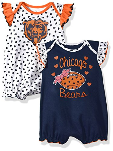 Outerstuff NFL Infant Heart Fan 2 Piece Creeper Set-Deep Obsidian -18 Months, Chicago -