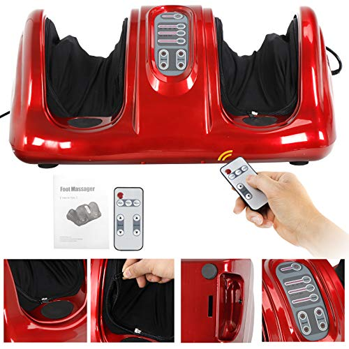 ZENY Shiatsu Kneading and Rolling Foot Massager Machine w/Remote Control Personal Home Health Care Tool, Red Burgundy