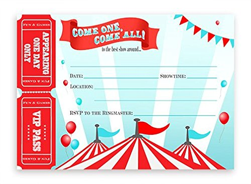 (POP parties Circus Large Invitations - Carnival Invitations - 10 Invitations 10)
