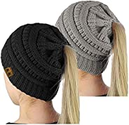Ponytail Beanie Hat - Womens Winter Hats Warm Thick Cable Knit Hats Stretch Chunky Slouchy Hats Skull Cap for