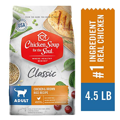 Chicken Soup for the Soul Adult Cat Food, Chicken & Brown Rice Recipe, 4.5 lb. Bag | Soy Free, Corn Free, Wheat Free | Dry Cat Food Made with Real Ingredients