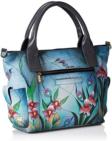 Anna by Anuschka Hand Painted Leather Women s Large Tote with Side Pocket