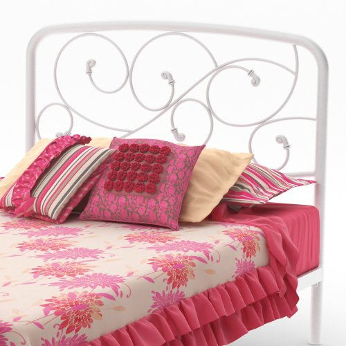 """Amisco Serpentine Metal Headboard/Footboard Only, Twin Size 39"""", Snow/Glossy White"""
