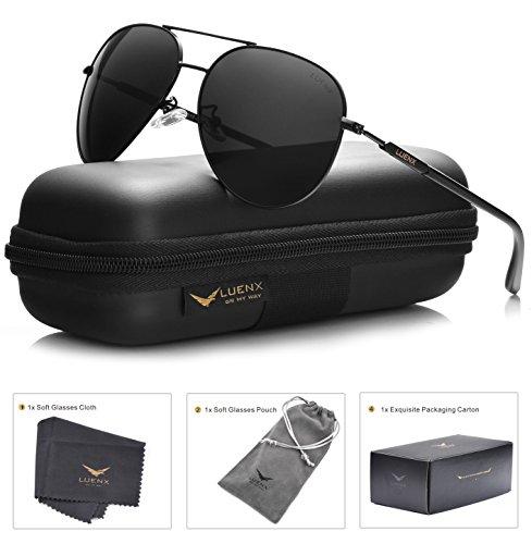 aviator-sunglasses-mens-polarized-black-lens-black-metal-frame-dark-60mm-with-case-uv400