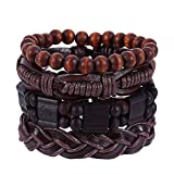 Nivalkid 4Pcs Braided Bracelet Vintage Hand-Woven Multi-Layer Leather Jewelry Woven DIY Four-Piece Set Multilayer Simple Print Advanced Wild Cowboy Boyfriend Wind Bracelet