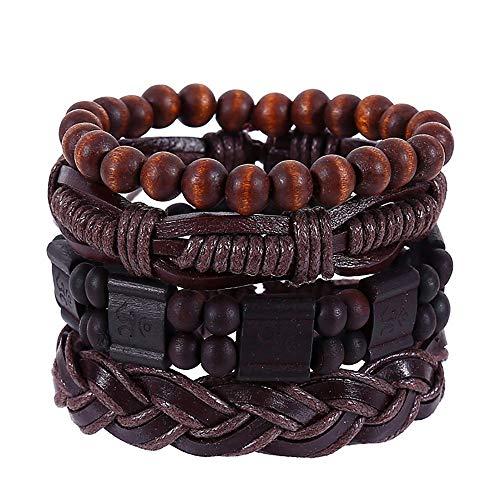 - Hemlock Men Multi-Layer Bracelet PU Leather Beads BraceletBraided BraceletVintage Hand-WovenBangles (Brown)