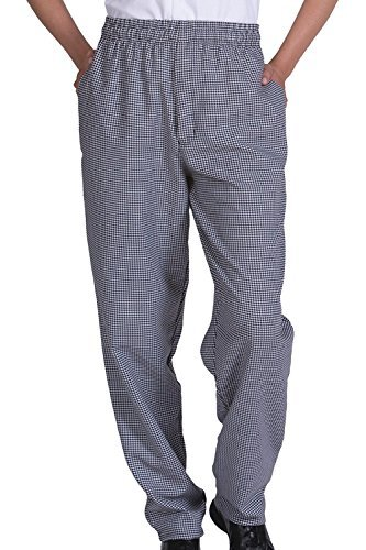 Unisex Contemporary Black & White Check Baggy Chef Pants (L) by Best Textile