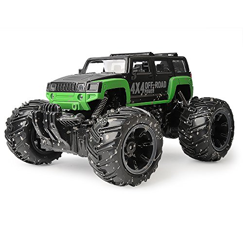Gizmovine Mud Monster Pickup Remote Control RC Truck RC Car 1:16 Scale Rechargeable w/ Mud Splatter Paint Job Green&Black (Rc Gas Lamborghini Powered)