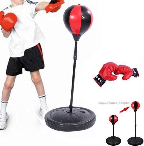 Ballon de Vitesse de Boxe Debout Libre avec Sac de Boxe R/églable en Hauteur pour Gants pour Enfants Tbest Ensemble de Sac de Boxe