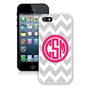 BINGO top-selling Personalized Gray Chevron Pink Monogram iPhone 5 5S Case White Cover