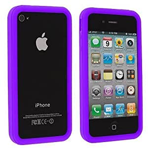 Purple Silicone Bumper Frame Skin For Apple Iphone 4/4S Case Cover
